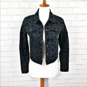 Black Levi's Floral Velvet Detailing Jacket SZ XS